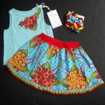 Th1 Custom Resell Too Lovely Designs 12-18 Aqua Floral Top Twirl Skirt Bows Set Photo