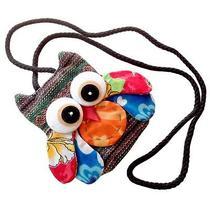 Thai Cotton Handmade Zipper Coins Note Cute Owl Bag Purse Wallet Multi Color  Photo