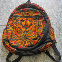 Thai Embroidered Colorful Fancy Backpack Bag / Dark Orange Color Photo