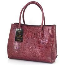 Thaipremiumhousegenuine Crocodile Leather Handbag Bag Tote Burgundy Red Shiny An Photo
