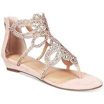 Thalia Sodi Womens Laylan Rhinestone Laser-Cut Wedge Sandals Blush Size 8.0 Photo