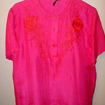 Thanh Thuy 114 Ng-Hue Sg 5 6 Blouse Top Pink Fuchsia Magentia Silk Short Sleeves Photo