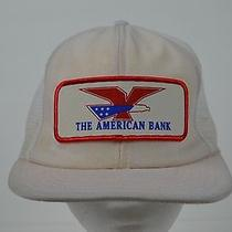 The American Bank White Snapback Mesh Trucker Hat Vintage Foam Cap Hipster Photo