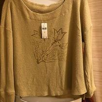 The Art of Anthropologie by Tracy Brigatta Crop Top Gold Waffle Knit M Nwt Photo