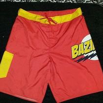 The Big Bang Theory Bazinga Mens Swim Shorts Sz L-Trunks Tv Series Photo