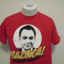 The Big Bang Theory Sheldon Bazinga Quote Facial Protrait Red Medium T-Shirt Photo