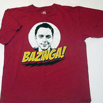 The Big Bang Theory Tshirt T Shirt Red Bazinga Sheldon Cooper Large L Tv Show Photo