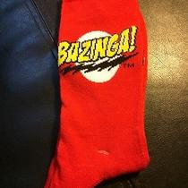 The Big Bang Theory Tv Show Bazinga Red/yellow Socks Crew Bazinga Mens Size 6-12 Photo