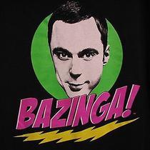 The Big Bang Theory Tv Show Sheldon Bazinga Official Large Black T Shirt Photo
