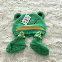 The Children's Place Baby Green Sweet Pea Frog Hat & Booties 0-6 Months Nwt Photo