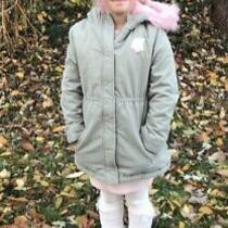The Childrens Place Girls Olive Green Blush Parka Coat Large 10-12 Unicorn Photo