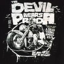 The Devil Wears Prada Skeleton Motorcyclist Black Large T Shirt Photo
