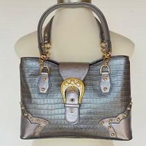 The Find Leather Shoulder Bag Handbag Purse New Silver Croc Embossed Rhinestones Photo