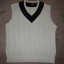 The Gap Cotton v Neck Tennis Cableknit Black Watch College Sweater Vest-L Tall Photo