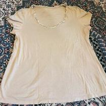 The Gap Womens Size Large L Maternity Super Soft Tan Ruffle v-Neck Tee Shirt Photo