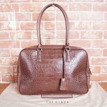 The Ginza Handbags Tote Bag Croc-Shaped Push Women 'S Leather Brown Tea B3415 Photo
