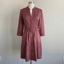 The Limited Belted Button Up Shirt Dress Red Navy 6 Photo