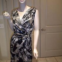 The Limited Black Grey Taupe Printed Sleeveless Wear to Work Dress 2 Photo
