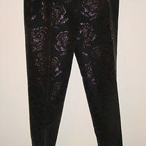 The Limited Black Pants Shiney Black Large Floral Print Lined-2 Photo