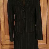 The Limited Black White Pinstripe Blazer Skirt Suit Size 6 Wool Blend Like New Photo