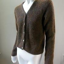 The Limited Brown Kid Mohair Cardigan Sweater Top Mother Pearl Button Up Knit M Photo