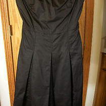 The Limited-Brwn-Strapless-Above Knee Dress-Pleated Skirt-Tie Back-Cotton-6-Euc Photo