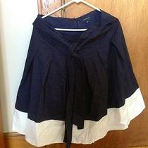 The Limited Colorblock Pleated Navy Blue Full Skirt Tie Belt- Ivory Trim Medium  Photo