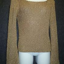 The Limited Gold Cable Knit Sweater Sz M New Photo