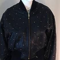 The Limited-Gold Studded Leather Bomber Jacket -  Beautiful Photo