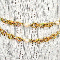 The Limited  Gold Tone and Pearly Chain Belt / Necklace  Excellent Photo