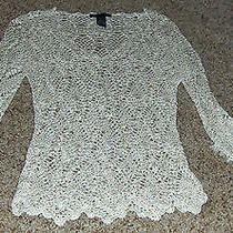 The Limited Handknit Beige See Through Lace Topbeaded Tassel Sleeve Hem Sz L Photo
