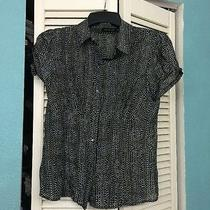 The Limited Peplam Blouse Size M Polka Dot Black Mother of Pearl Buttons Photo