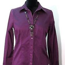 The Limited - Purple Stretch Long Sleeve Blouse  Size M   Free Flower Necklace Photo