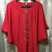 The Limited Red Boho Career Blouse Womens Size Xs  Free Forever21 Necklace Photo