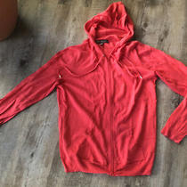 The Limited Red Coral Cotton Knit Hooded Zip Front Sweater Size Large Nwt Photo