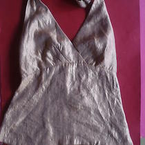 The Limited Shimmery Gold Holiday Halter Top Small Mint Photo
