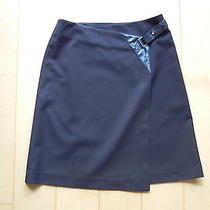 The Limited Size 0 Black Stretch Wrap Leather Knee Length Skirt Euc Photo