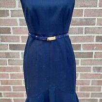The Limited Sleeveless Navy Classic Belted Sheath Dress W Gold Back Zip Sz 2 Photo