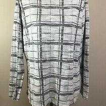 The Limited Sz Xxl Womens Zip Up Neck Top Black & White Check Long Sleeve Career Photo