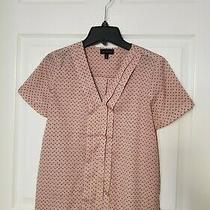 The Limited v-Neck Satin Blush Short Sleeve Pleated Blouse Xs Photo
