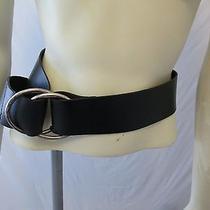 The Limited Wide Black Italian Leather Adjustable Belt Metal Loop Buckle S Photo
