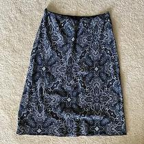 The Limited Women's Lined Silk Skirt Size S Blue and Grey Paisley Print Photo