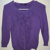 The Limited Women's Ruffle Front Button Up Cardigan Sweater Purple Size Xs Photo
