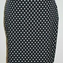 The Limited Womens Pencil Skirt Size 4 Blue Polka Dot Lined Stretch Below Knee Photo