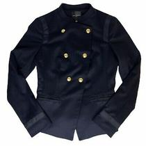 The Limited Womens Sz S Navy Blue Military Blazer Jacket Gold Button Career Nwt  Photo