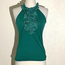 The Limited Womens Top Xs Green Blouse Ruffle Front Elastic Bottom Halter Neck Photo