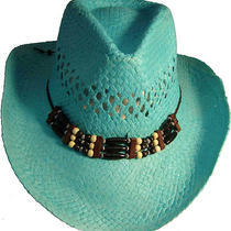 The Monroe Aqua Straw Cowboy Western Hat Brand New Sz Osfm Photo