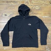 The North Face Black White Logo Full Zip Up Hooded Hoodie Sweatshirt Mens Small Photo