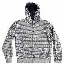 The North Face Full Zip Hoodie Sweater Mens Size Medium Striped Blue Grey White Photo