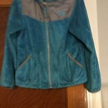 The North Face Girl's Fleece Zip Up Jacket Size 10/12 Euc Teal and Gray Photo